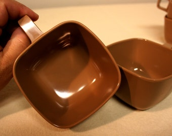 Cocoa brown melmac-coffee cups-cappuccino colored cups-vintage melmac-square cups