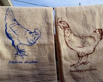 flour sack tea towel, Chicken print, unique art hand-screened onto unbleached cotton