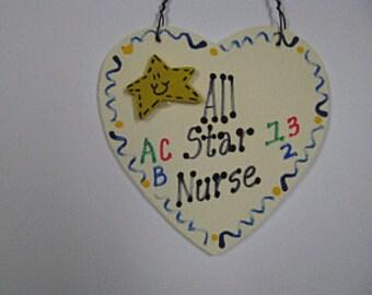 Teacher Gifts All Star School Nurse Handmade