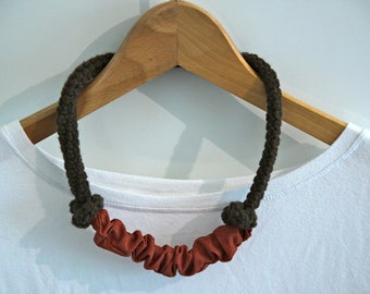 Brown wool with cotton loop necklace