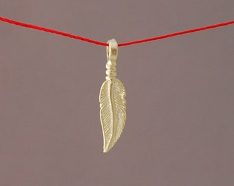 Gold or Silver Feather Wish String NECKLACE or BRACELET