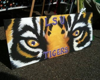 LSU Tiger Eyes Painting on custom made canvas FREE SHIPPING