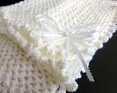 White Handmade Crochet Afghan Baby Blanket