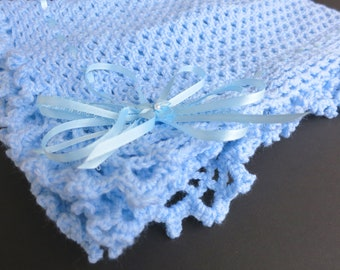 Blue Hand Knit Crochet Afghan Baby Blanket