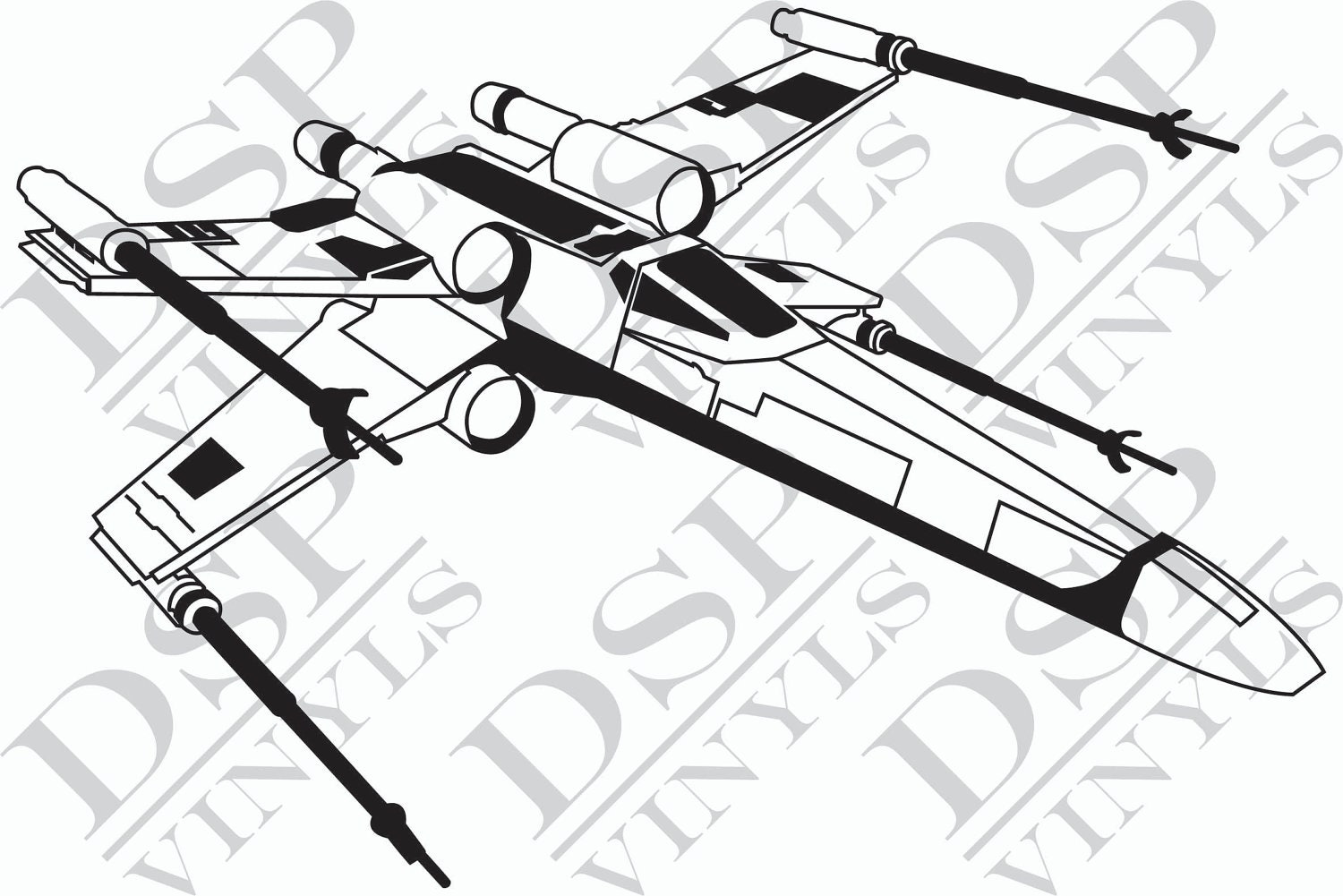 X wing star wars wall art vinyl sticker decal by dspvinyls for Star wars x wing coloring pages