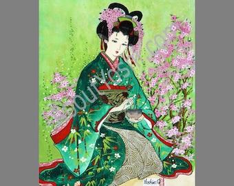"Japanese Art -  Geisha ""Tea Ceremony""  11x14 watercolor on canvas."
