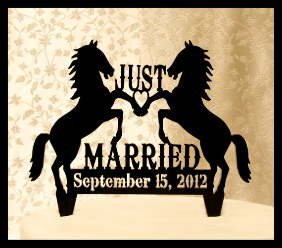 Wedding Cake Topper Just Married Wedding Cake Topper with Two Horses and your date - Western Style Wedding Cake Topper - Cowboy and Cowgirl