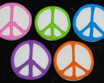 25 Edible Multi colored  Peace Signs
