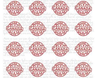 """MADE IN CANADA Canada Day 1.5"""" Round instant download Digital Print out Collage Sheet for craft projects"""