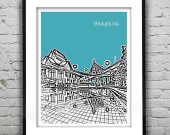 Bangkok Thailand Skyline Poster Art Print   Bhumibol Bridge Version 2