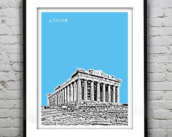 Athens Greece Poster Parthenon Art Print Version 3