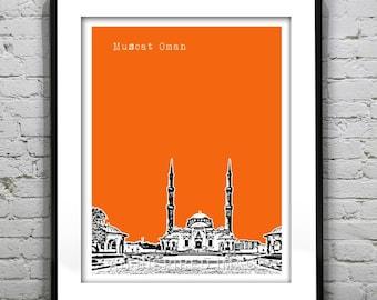 Muscat Oman Skyline Sultan Taymoor Grand Mosque Poster Art Print