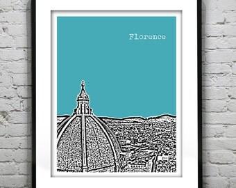 Florence Italy Poster Tuscany Art Print Skyline Version 2