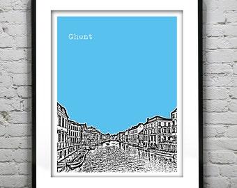Ghent  Belgium Poster Art Print Skyline