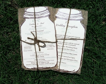 Rustic Mason Jar Burlap Wedding Programs -100