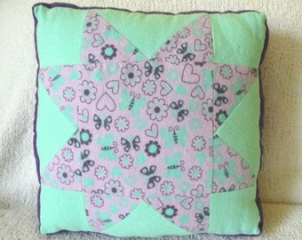 Purple and Green Butterfly Pillow