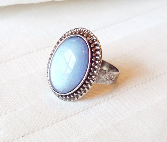 Blue Ring, Vintage Style Ring, Hand Painted Ring, Blue Oval Ring, Blue Glass Ring,