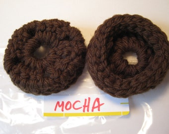 MOCHA  Ear Pads - Cushions - Cookies  for Phone Headset, Call Center, Hand-crochetted, NEW.