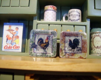 """Two adorable plates for dollhouse """"Rooster"""""""