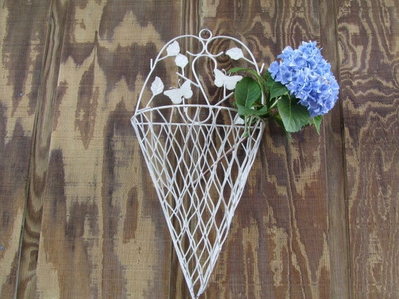 Decorative Wall Pockets Metal : Shabby chic decor wall pocket hanging by