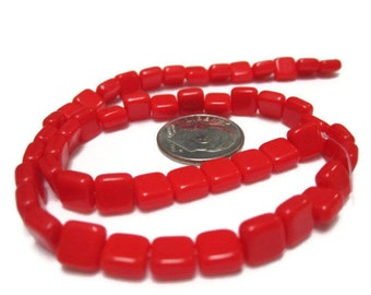 Opaque Red Square Glass Bead
