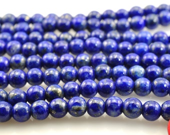 A grade-123 pcs of  Lapis Lazuli smooth round beads in 3mm