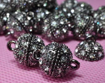 10 Sets of Gun black Crystal Magnetic Clasp in 12mm