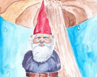 Gnome and Umbrella - Greeting Card (blank)