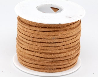 25 Yard / 75 Feet Spool of  3MM Beige Leather Suede Lace