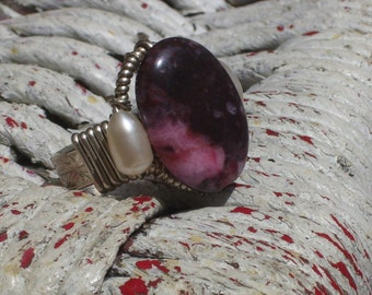 Sterling silver and Purple pink stone ring