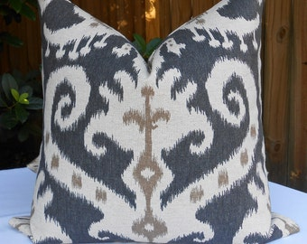 Brown Ikat Pillow Cover in Lacefield Casbah Mink fabric