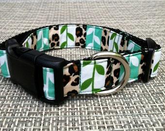 Dog Collar- Animal Print & Leaves