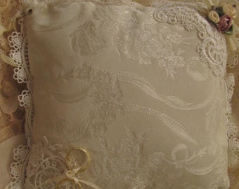Sale - Sale -Brocade Ivory with Rose colored ribbons roses and ivory laces, ribbons.