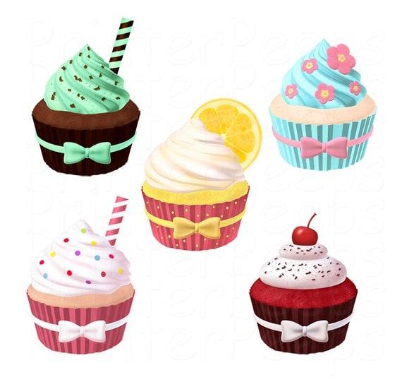 Cupcake Clipart Scrapbook Pack Digital Scrapbooking Cupcakes Süßigkeiten Kuchen Vanille Lemon Mint Schokolade rotem Samt Zuckerwatte INSTANT