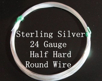 24 g ga Gauge Sterling Silver Wire - Round - Half Hard - sold by one foot increment (RW2401SS)