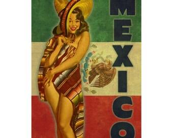 MEXICO 2P- Handmade Leather Mini Wallet / Cardholder - Travel Art