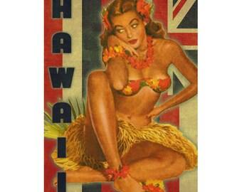 HAWAII 1P- Handmade Leather Mini Wallet / Cardholder - Travel Art
