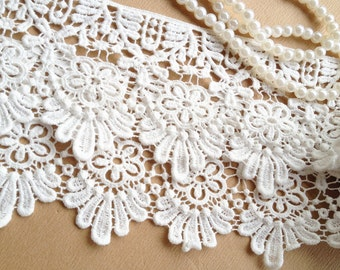 White Daisy Lace Trim Cotton Lace Trim Embroidered Bridal Lace Fabric Supplies