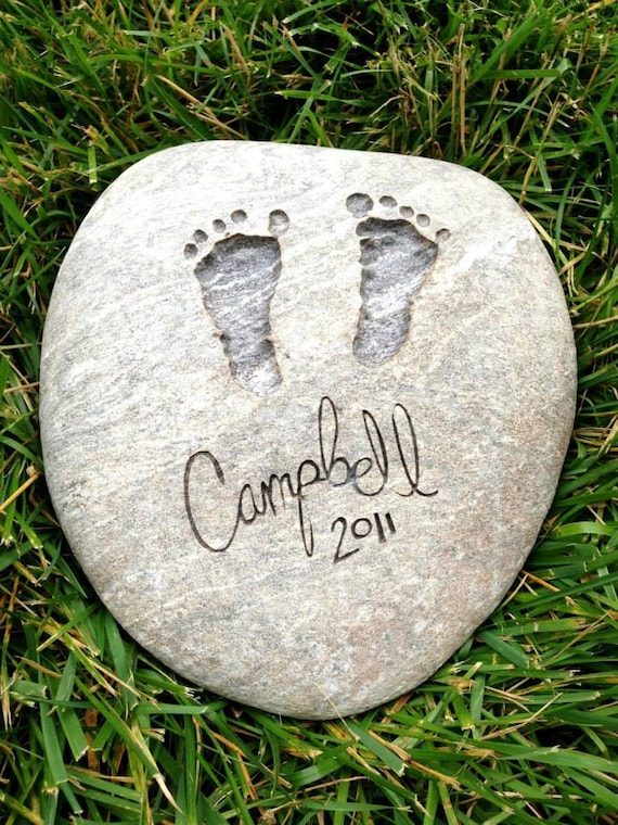 Stone Prints River Rock - Custom baby footprints engraved in stone (100% hand made)