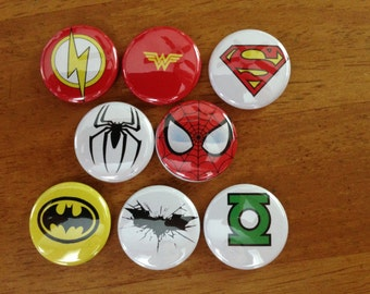 Super Hero Buttons Set of 8 Pinback Buttons