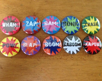 SUPER HERO Sound Buttons  Set of 10 Pinback Buttons