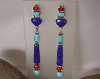 Sterling Silver Lapis Turquoise Carnelian Earrings ... Made to Order