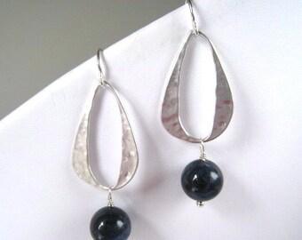 Silver Hammered Link Sodalite Earrings, Navy Blue Dangle, Clean and Modern long earrings, Dangle Earring, Sterling Wires