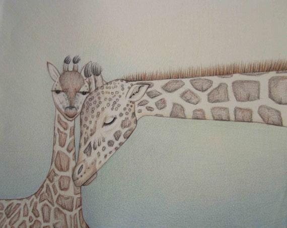 Giraffes in Love Drawing Pencil Art Work Giraffe Love