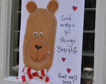 Religious Get Well Greeting Card  God Makes All Things Bearable-Get Well Soon