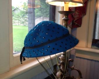 1940's Turquoise Felt Hat w/ Black FacetedStuds