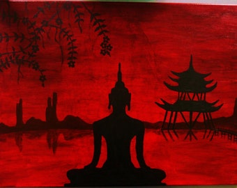 Meditating Buddha painting