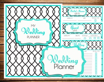 Wedding Planner Printable Turquoise {SIZE LARGE 8.5 x 11} - Instant Download - Bride's Checklist