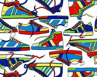 SALE - Fabric Material New School Sneakers White - Fat Quarter