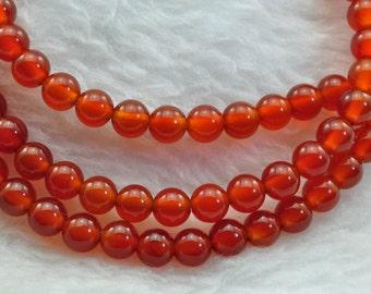 Cornelian smooth Round  beads 4mm,93 pcs